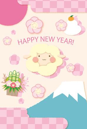 かわいい羊の年賀状|ピンクの市松模様+富士山+鏡餅