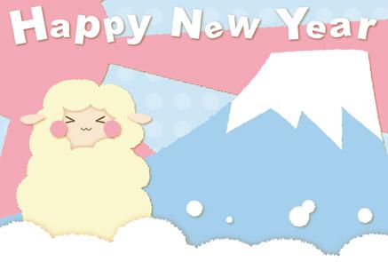 羊の年賀状|パステル調ピンク×水色 富士山+日の出 HAPPY NEW YEAR