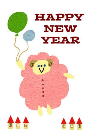 可愛い羊の年賀状|白背景 風船 赤い屋根のおうち HAPPY NEW YEAR