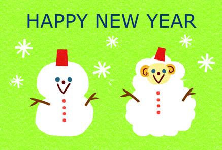 可愛い羊の年賀状|黄緑背景に雪だるまとひつじ
