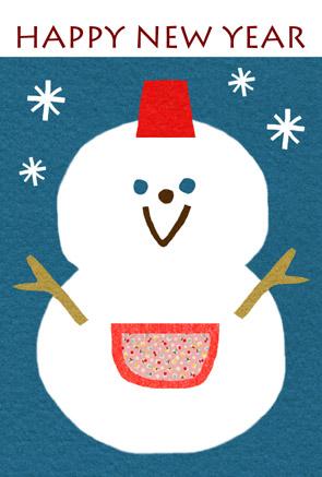 雪だるま,年賀状,無料,テンプレート,ダウンロード,かわいい,フリー素材