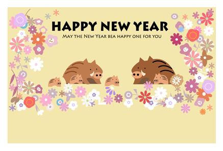 かわいいお花柄と猪のイラスト年賀状