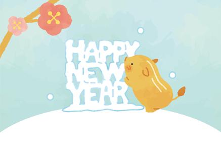 かわいいうり坊(猪)と雪のイラスト年賀状
