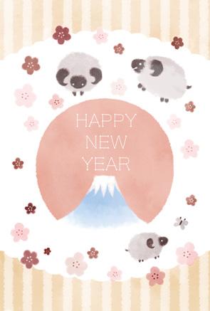 羊のかわいい無料年賀状イラストフリー素材【未年】落ち着いた色合い