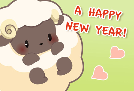 羊のキャラクターイラスト年賀状|黄緑色背景