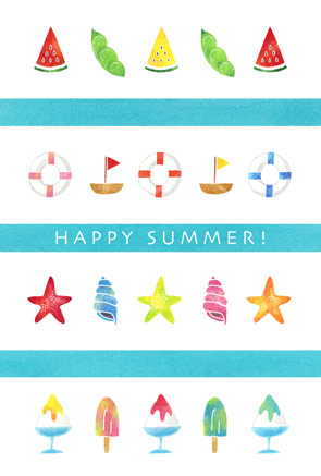 かわいい暑中見舞いイラスト サマー・マリンモチーフ スイカ すいか 西瓜 枝豆 うきわ 浮輪 ヨット ヒトデ 貝殻 巻貝 かき氷 アイスキャンディー