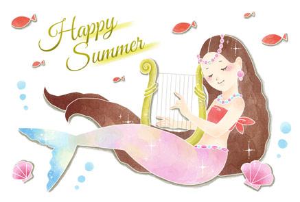 可愛い人魚の暑中見舞いイラストフリー素材