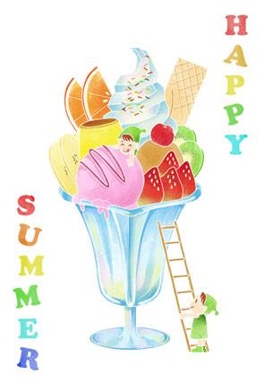 かわいい小人とパフェの暑中見舞いイラストフリー素材