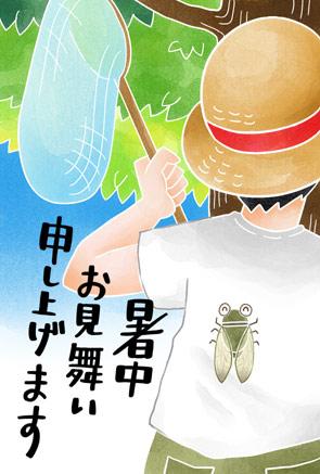 かわいい暑中見舞いイラスト 虫取り少年【フリー素材】