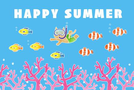 かわいい猫と熱帯魚の暑中見舞いイラストフリー素材
