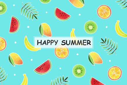 かわいいフルーツ柄暑中見舞いイラスト 【フリー素材】