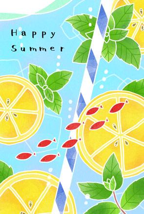 かわいい暑中見舞いイラスト レモンとミント【フリー素材】